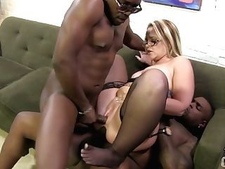 Two Hefty Black Dicks Break In Ass-hole And Vagina Of Nasty Mummy...