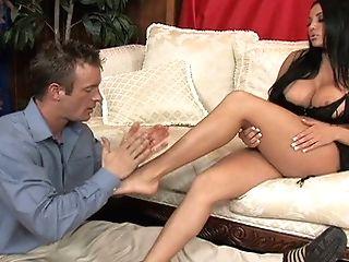 Gorgeous Big-boobed Honey Audrey Bitoni Gives Hot Footjob