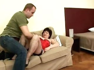 Elder Hairy Mom Eva Wears Fishnet Stockings During A Fuck-a-thon...